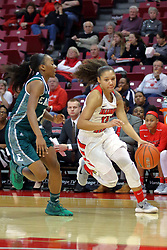 10 December 2017: Katrina Beck defended by Sasha Dailey during an College Women's Basketball game between Illinois State University Redbirds and the Eagles of Eastern Michigan at Redbird Arena in Normal Illinois.