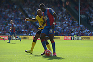 Bakary Sako of Crystal Palace controlling the ball with Jordan Veretout of Aston Villa marking. Barclays Premier league match, Crystal Palace v Aston Villa at Selhurst Park in London on Saturday 22nd August 2015.<br /> pic by John Patrick Fletcher, Andrew Orchard sports photography.