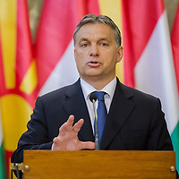 Viktor Orban Prime Minister of Hungary talks during a press conference in Budapest, Hungary on November 14, 2012. ATTILA VOLGYI