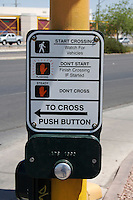 Pedestrian crossing button on a highway in Las Vegas Nevada USA