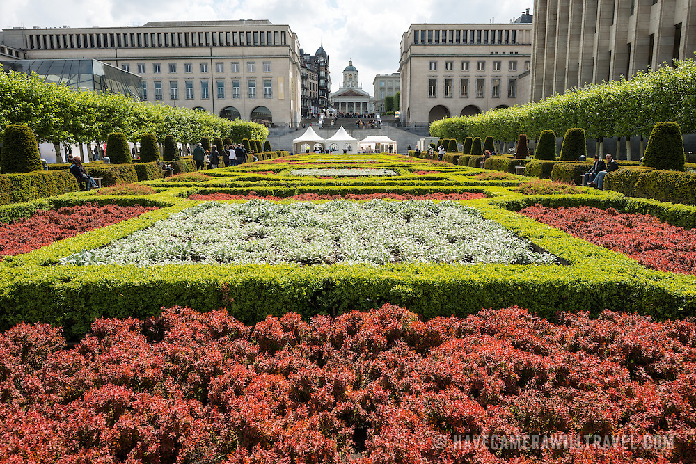 The garden of the Mont des Arts in the Upper Town of Brussels, Belgium.