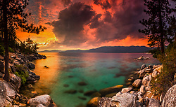"""""""Sunset at Lake Tahoe 43"""" - Stitched panoramic photograph of a vibrant smokey sunset at Lake Tahoe, just north of Sand Harbor."""