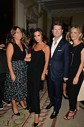 Left to right, ALEXANDRA SHULMAN, VICTORIA BECKHAM, US Ambassador MATTHEW BARZUN and BROOKE BARZUN at a party to kick off London Fashion Week hosted by US Ambassador Matthew Barzun and Mrs Brooke Brown Barzun with Alexandra Shulman in association with J.Crew hrld at Winfield House, Regent's Park, London on 18th September 2015.