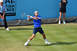 June 19, 2018 - London, England, United Kingdom - Spain's Feliciano Lopez returns to David Goffin of Belgium during their first round men's singles match at the ATP Queen's Club Championships tennis tournament in west London on June 19, 2018. (Credit Image: © Alberto Pezzali/NurPhoto via ZUMA Press)