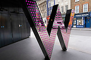 Entrance to the W Hotel on 5th March 2021 in London, England, United Kingdom. This hotel chain provides an exclusive chic and boutique experience for their customers.