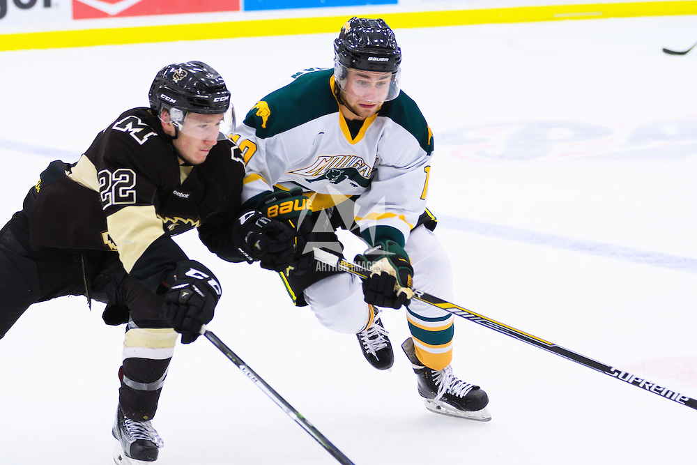 2nd year forward JJ Coleshaw (10) of the Regina Cougars in action during the Men's Hockey Home Opener on October 21 at Co-operators arena. Credit: Arthur Ward/Arthur Images