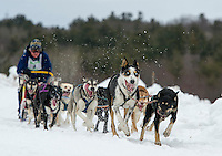 With the lead dog's eyes on the finish line Jim Blair drives his team during Friday's open class series of the 84th annual Laconia World Championship Sled Dog Races.  (Karen Bobotas/for the Laconia Daily Sun)