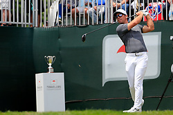 June 24, 2018 - Cromwell, CT, U.S. - CROMWELL, CT - JUNE 24: Paul Casey of England drives from the 1st tee during the Final Round of the Travelers Championship on June 24, 2018 at TPC River Highlands in Cromwell, Connecticut. (Photo by Fred Kfoury III/Icon Sportswire) (Credit Image: © Fred Kfoury Iii/Icon SMI via ZUMA Press)