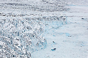 Top view of the heavily crevassed terminus of the west branch of the Columbia Glacier, near Valdez, Alaska.