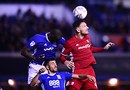 Sean Morrison of Cardiff City ® and Cheikh Ndoye of Birmingham city battle for the ball .EFL Skybet championship match, Birmingham city v Cardiff city at St.Andrew's stadium in Birmingham, the Midlands on Friday 13th October 2017.<br /> pic by Bradley Collyer, Andrew Orchard sports photography.