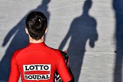 December 15, 2017 - Majorca, SPAIN - A Lotto Soudal rider pictured during a press day during Lotto-Soudal cycling team stage in Mallorca, Spain, ahead of the new cycling season, Friday 15 December 2017. BELGA PHOTO DIRK WAEM (Credit Image: © Dirk Waem/Belga via ZUMA Press)