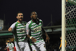 Yeovil Town's Ishmael Miller celebrates his penalty with Yeovil Town's Jamie McAllister - Photo mandatory by-line: Alex James/JMP - Tel: Mobile: 07966 386802 07/12/2013 - SPORT - Football - Yeovil - Huish Park - Yeovil Town v Charlton Athletic - Sky Bet Championship