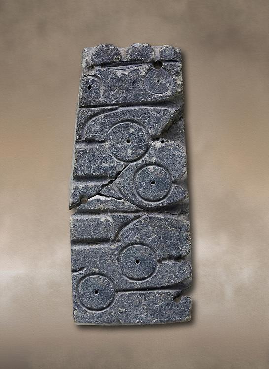 Fragment of a hittite mould from the Hittite capital Hattusa, Hittite New Kingdom 1650-1200 BC, Bogazkale archaeological Museum, Turkey.