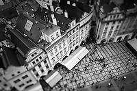 Black and white photo of Prague's old town square from the top of the Old Town Hall tower.