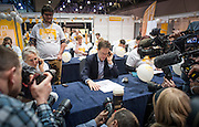 © Licensed to London News Pictures. 14/03/2015. Liverpool, UK.  Deputy Prime Minister and Leader of the Liberal Democrats Nick Clegg phone canvassing the conference centre. The Liberal Democrat Spring Conference in Liverpool 14th March 2015. Photo credit : Stephen Simpson/LNP