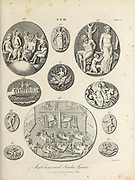 Gems of Mythology and Secular Games Gem - Art highly prized for its beauty or perfection Copperplate engraving From the Encyclopaedia Londinensis or, Universal dictionary of arts, sciences, and literature; Volume VIII;  Edited by Wilkes, John. Published in London in 1810.