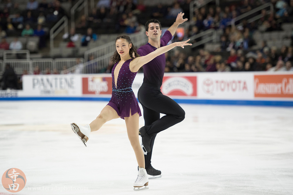 January 4, 2018; San Jose, CA, USA; Chelsea Liu and Brian Johnson perform in the pairs short program during the 2018 U.S. Figure Skating Championships at SAP Center.