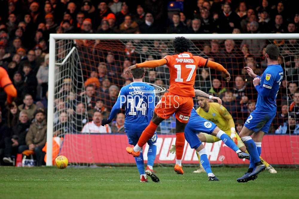 Luton Town midfielder Pelly Ruddock Mpanzu (17) see's this one go just wide durins the EFL Sky Bet League 1 match between Luton Town and Peterborough United at Kenilworth Road, Luton, England on 19 January 2019.