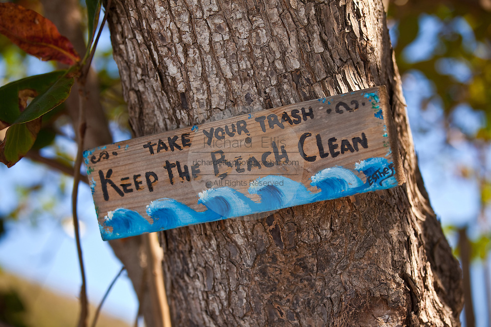 Keep the beach clean sign at Steps beach in Rincon Puerto Rico