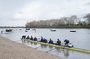 Putney, London, Varsity,   4rd April 2019, OUBC Boating from Putney Hard, Oxford/Cambridge Media week, Championship Course,<br /> [Mandatory Credit: Peter SPURRIER], Thursday 04/04/2019,