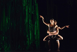 "© Licensed to London News Pictures. 12/11/2012. London, England. Performing: Kai-Wen Chuang and Luke Burrough. Jasmin Vardimon Company performing ""Freedom"" at Sadler's Wells Theatre running from 12 to 13 November 2012. Dancers: Júlia Robert Parés, Estéban Fourmi, Aoi Nakamura, Luke Burrough, Kai-Wen Chuang and David Lloyd. Photo credit: Bettina Strenske/LNP"