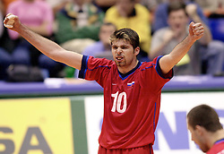 14-07-2000 VOLLEYBAL: WLV USA - RUSLAND: ROTTERDAM<br /> Rusland wint met 3-1 van USA / Raman Yakolev<br /> ©2000-FotoHoogendoorn.nl