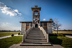 St. Michael's Church in the Marsh, one of the prominent works of 20th-century Slovenian architect Joze Plecnik, on April 1, 2019, in Crna vas Slovenia. Photo by Vid Ponikvar / Sportida