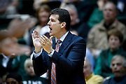 SHOT 2/23/10 10:23:30 PM - New Mexico head basketball coach Steve Alford works the sidelines during the second half of their regular season Mountain West Conference game against Colorado State at Moby Arena in Fort Collins, Co. New Mexico survived a tight game winning 72-66. (Photo by Marc Piscotty / © 2010)