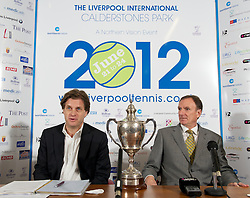 LIVERPOOL, ENGLAND - Wednesday, April 18, 2012: Tournament Director Anders Borg and Tennis Ambassador Phil Thompson during a press conference to launch the 2012 Liverpool International Tennis Tournament at the Hilton Hotel. (Pic by David Rawcliffe/Propaganda)