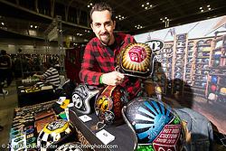 Fabrizio Caoduro of 70's Helmets in Italy at the 27th Annual Mooneyes Yokohama Hot Rod Custom Show 2018. Yokohama, Japan. Sunday, December 2, 2018. Photography ©2018 Michael Lichter.