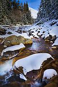 Mt Rainier and Kautz Creek in Winter