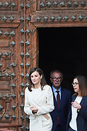 Queen Letizia of Spain attends the opening of the exhibition 'Angeli' of the Foundation 'The Ages of Man' at Iglesia Colegial de San Pedro on April 11, 2019 in Lerma, Spain
