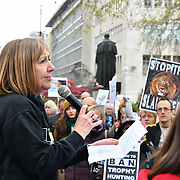 Christine Macsween of Lion Aid addresses the crowds at the 5th Global March for Elephants and Rhinos march against extinction and trophy hunting murdering and killing animals for blood spots and ivory trade on 13 April 2019, London, UK.