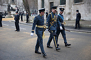 London Wednesday 17th April 2013. The funeral of former Prime Minister Baroness Margaret Thatcher. Members of the RAF armed forces parade past St Clement Danes Church prior to the funeral procession.