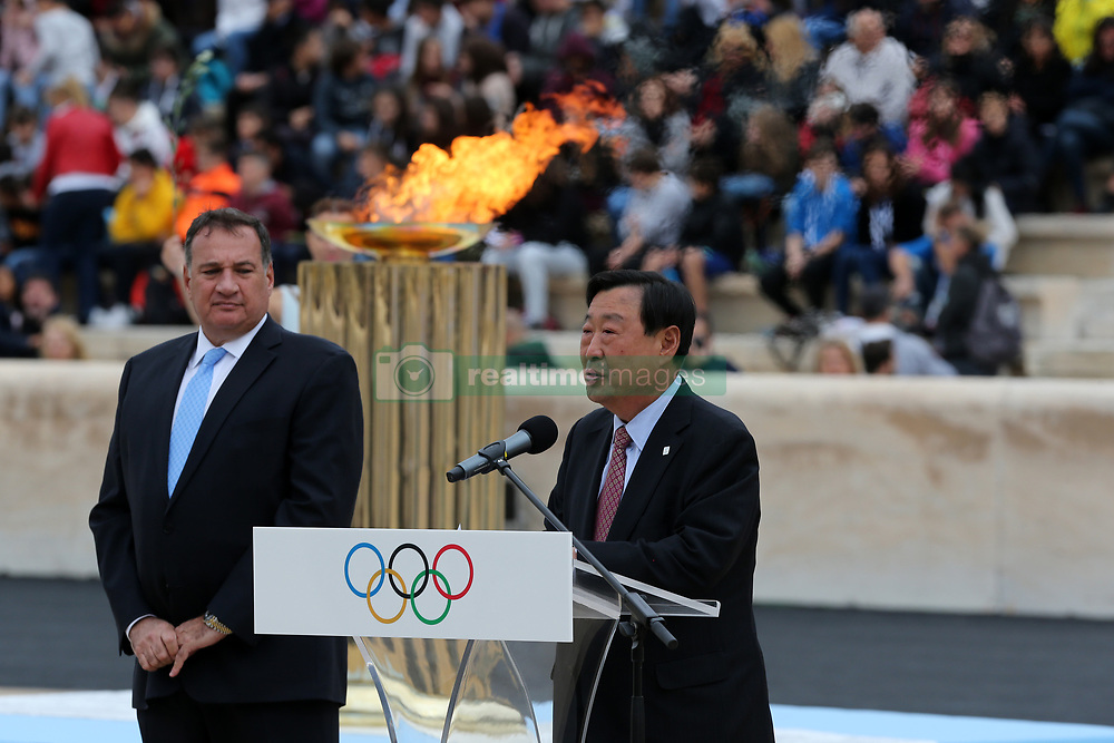 ATHENS, Oct 31, 2017  The President of the PyeongChang Winter Olympics Organizing Committee Lee Hee-beom (R) address the Olympic Flame Handover ceremony at Panathenaic stadium in Athens on Oct. 31, 2017. The Flame burning for the 2018 PyeongChang Winter Olympics was handed over on Oct. 31 to the South Korean organizers in a touching ceremony. (Credit Image: © Marios Lolos/Xinhua via ZUMA Wire)