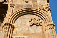 """picture & image of exterior stone work decorations of the Samtavisi Georgian Orthodox Cathedral, 11th century, Shida Karti Region, Georgia (country)<br /> <br /> Built during the so called 10-11th century """"Georgian Golden Era"""" Samtavisi cathedral is a built in classical Georgian style of the period. Layout on a cruciform ground plan with a high central cylindrical central cupola. .<br /> <br /> Visit our MEDIEVAL PHOTO COLLECTIONS for more   photos  to download or buy as prints https://funkystock.photoshelter.com/gallery-collection/Medieval-Middle-Ages-Historic-Places-Arcaeological-Sites-Pictures-Images-of/C0000B5ZA54_WD0s<br /> <br /> Visit our REPUBLIC of GEORGIA HISTORIC PLACES PHOTO COLLECTIONS for more photos to browse, download or buy as wall art prints https://funkystock.photoshelter.com/gallery-collection/Pictures-Images-of-Georgia-Country-Historic-Landmark-Places-Museum-Antiquities/C0000c1oD9eVkh9c"""