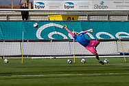 Tranmere Rover's Goalkeeper Joe Murphy (13) during the pre-match warm-up at the EFL Sky Bet League 2 match between Newport County and Tranmere Rovers at Rodney Parade, Newport, Wales on 17 October 2020.