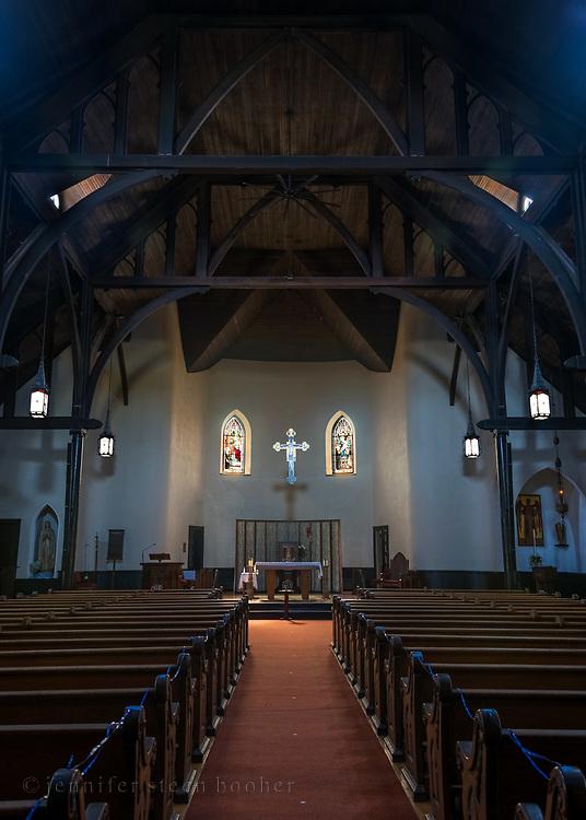 Windows 1 and 2 on plan.<br /> Holy Redeemer Catholic Church, Bar Harbor, Maine.