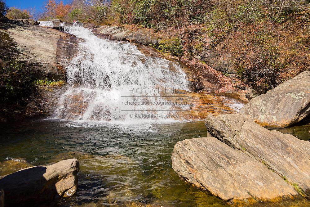 Lower Graveyard Falls waterfall in Blue Ridge National Park in autumn outside Asheville, North Carolina.