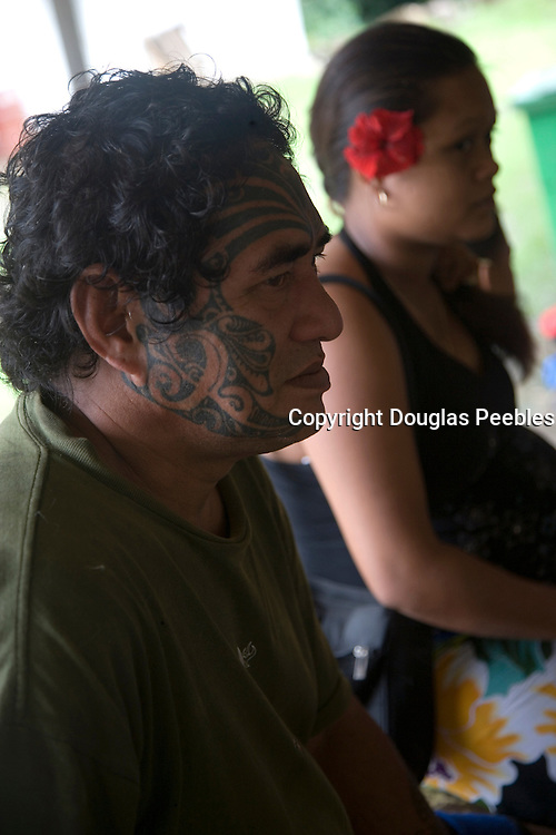 Man with tatooed face, Puamau, Marquesas Islands, Hiva Oa, French Polynesia, , (Editorial use only)<br />