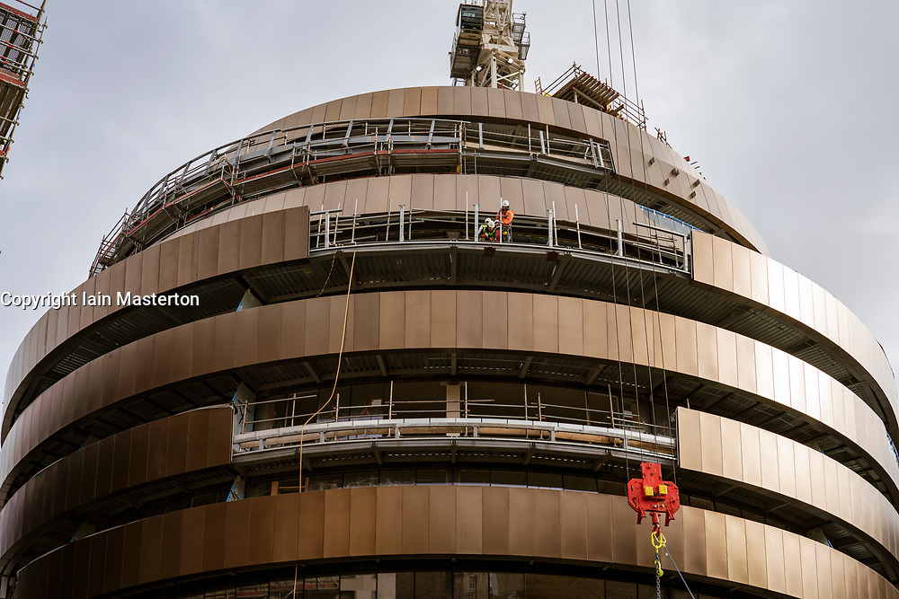 Edinburgh, Scotland, UK. 28 October 2020. Copper coloured cladding being installed to exterior of new luxury W Edinburgh hotel under construction at new St James Quarter commercial and residential development in Edinburgh,  Iain Masterton/Alamy Live News