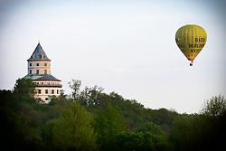 April 28, 2018 - Sobotka, Czech Republic - Romantic balloon flight over the Humprecht Chateau of the Bohemian Paradise in the Czech Republic, April 28, 2018. (Credit Image: © Slavek Ruta via ZUMA Wire)