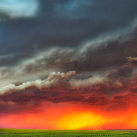 Severe thunderstorm at sunset over the agricultural fields of western Kansas.