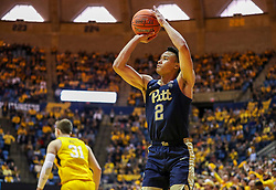 Dec 8, 2018; Morgantown, WV, USA; Pittsburgh Panthers guard Trey McGowens (2) shoots a jumper during the first half against the West Virginia Mountaineers at WVU Coliseum. Mandatory Credit: Ben Queen-USA TODAY Sports