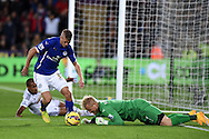 Leicester city goalkeeper Kasper Schmeichel dives to stop Swansea's Wayne Routledge. Barclays Premier league match, Swansea city v Leicester city at the Liberty stadium in Swansea, South Wales on Saturday 25th October 2014<br /> pic by Andrew Orchard, Andrew Orchard sports photography.