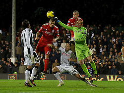 05.12.2011, Craven Cottage Stadion, London, ENG, PL, FC Fulham vs FC Liverpool, 14. Spieltag, im Bild Liverpool's Martin Skrtel is thwarted by Fulham's goalkeeper Mark Schwarzer in injury time during the football match of English premier league, 14th round, between FC Fulham and FC Liverpool at Craven Cottage Stadium, London, United Kingdom on 05/12/2011. EXPA Pictures © 2011, PhotoCredit: EXPA/ Sportida/ David Rawcliff..***** ATTENTION - OUT OF ENG, GBR, UK *****