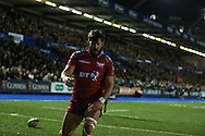 DTH van der Merwe of the Scarlets  celebrates after he scores a try. Guinness Pro12 rugby match, Cardiff Blues v Scarlets at the BT Cardiff Arms Park in Cardiff, South Wales on Friday 28th October 2016.<br /> pic by Andrew Orchard, Andrew Orchard sports photography.