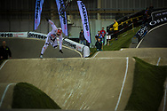 #1 (WILLOUGHBY Sam) AUS falls from the heavens during his time trial run at the UCI BMX Supercross World Cup in Manchester, UK