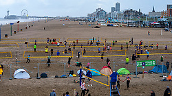 The Hague beach. The DELA NK Beach volleyball for men and women will be played in The Hague Beach Stadium on the beach of Scheveningen on 22 July 2020 in Zaandam.