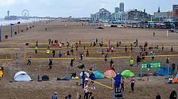 The Hague beach. The DELA NK Beach volleyball for men and women will be played in The Hague Beach Stadium on the beach of Scheveningen on 22 July 2020 in Zaandam.